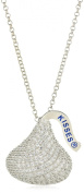 Hershey Jewellery Sterling Silver with CZ Extra Large Flat Back Shaped Pendant