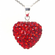 Swaroski Red Crystal Heart Shape Sterling Silver Pendant
