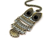Alloy Metal Owl Pendant Necklace