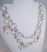 68.6cm Two Strand Silvertone Shell & Faux Pearl Necklace