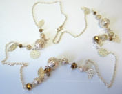 Stunning 96.5cm Gold Tone Necklace with Butterfly & Leaf Charms
