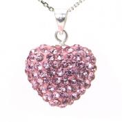 Swaroski Pink Crystal Heart Shape Sterling Silver Pendant