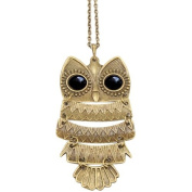 Vintage Owl Pendant Long Bronze Chain Necklace Clothes