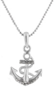 Ladies Silver with Clear Iced Out Wrapped Anchor Style Pendant with an 45.7cm Beaded Ball Chain Necklace