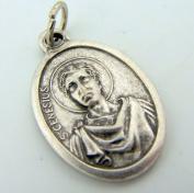 Saint St Genesius Pray For Us Silver Gilded Christian Italian Medal 2.5cm Pendant