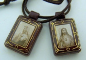 Dark Brown Antique Style Sacred Heart Jesus Christ Our Lady Mt Carmel Scapular