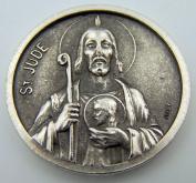 Catholic Medal Charm Prayer Pocket Token Saint Jude Pray For Us Antiqued Silver