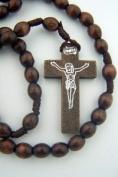 Boys Girls Catholic Gift 8MM Dark Brown Wood Bead Corded Prayer Rosary Necklace
