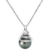 PearlsOnly Demetria Black 8.0-8.5mm AAA Tahitian 14k White Gold Cultured Pearl Pendant
