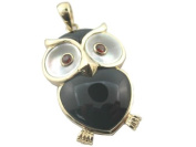 Onyx and Mother Of Pearl Sage Owl Pendant, 14k Gold