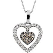 Diamond Heart Pendant White & Cognac Diamond 14K White Gold