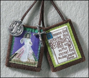Catholic Christian Divine Mercy Jesus Christ Scapular W/ Medals Our Lady's Scapular Promise