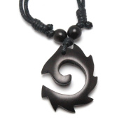 Circular Flame Pendant Carved from Kamagong Wood with Adjustable Black Cotton Waxed Cord Necklace