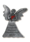 Guardian Angel w Wings Holding Red Enamel Heart Never Fly Auto Travel Visor Clip