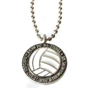 """Forgiven Jewellery - Colourful Volleyball Pendant Necklace """"I Can Do All Things Through Christ"""""""