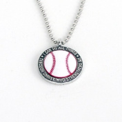 """Forgiven Jewellery - Colourful Baseball Pendant Necklace """"I Can Do All Things Through Christ"""""""