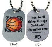 """Forgiven Jewellery - Aluminium Dog Tags- Colourful Basketball Pendant Necklace """"I Can Do All Things Through Christ"""""""