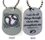 """Forgiven Jewellery - Aluminium Dog Tags- Colourful Baseball Pendant Necklace """"I Can Do All Things Through Christ"""""""