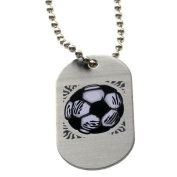 """Forgiven Jewellery - Aluminium Dog Tags- Colourful Soccer Pendant Necklace """"I Can Do All Things Through Christ"""""""