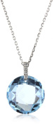 "Suzanne Kalan ""The Classics"" Round Blue Topaz Diamond Loop Necklace"