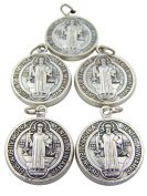 Lot of 5! Silver Saint Benedict Protection from Evil Sacremental Devotion Medal