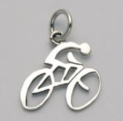 Sterling Silver Road Bike w/Rider Pendant/Charm