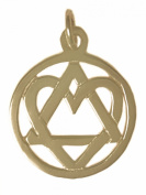 """Alcoholics Anonymous AA Recovery Symbol Pendant, #19-4, 1.7cm Wide and 2.4cm Tall, Antiqued Brass, AA Symbol with a Lovely Heart """"Love & Service"""""""