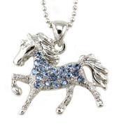 Light Sky Blue Horse Pony Mustang Animal Pendant Necklace Western Charm High Polish Silver Tone Ladies Teens Girls Women Fashion Jewellery