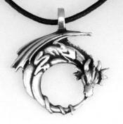 Pewter Dragon on Crescent Moon Gothic Fantasy Pendant, Leather Necklace