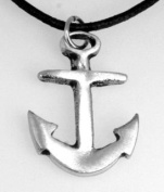 Pewter Anchor Nautical Navy Boat Pendant on Leather Necklace