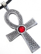 Pewter Ankh Pendant w. Crystal Ruby Red July Birthstone, Leather Necklace