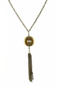 Necklace - N200 - Circle with Tassel Pendant ~ Antique Gold Tone
