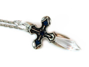 Crystal Cross Necklace with Pewter Cross, Black Beads and Two Faceted Cross Crystals