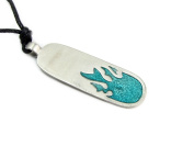 Whale Tail Pewter Surfboard Pendant on Adjustable Cord Necklace