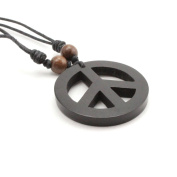 Peace Sign Kamagong Wood Pendant with Adjustable Black Cotton Cord Necklace