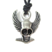 Wings of Terror Skull Pewter Pendant with Corded Necklace