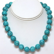 """16"""" Round 15mm Green Turquoise Howlite Necklace With Clasp"""