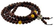 Tibetan 8mm Rosewood Beeswax Amber Prayer Beads, Tibetan Mala, Rosewood Necklace