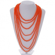 Long Layered Orange Acrylic Bead Necklace In Silver Plating - 112cm Length/ 5cm Extension