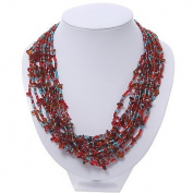 Red/Amber/Light Blue Multistrand Glass Bead Necklace - 48cm Length