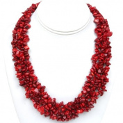 45.7cm Multi Strands Red Coral Chips Cluster Necklace With Lobster Clasp