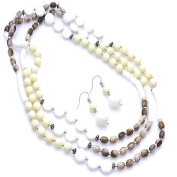 Beige and Light Brown Marbled Beaded 152.4cm Necklace Set