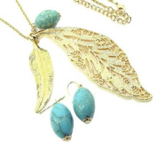 Golden Feathers with Turquoise Bead 76.2cm Necklace Set