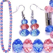 Pink & Light Blue Faceted Crystal Necklace & Earrings