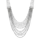 Italian Sterling Silver Multi-Strand Diamond Cut Bead Necklace, 45.7cm