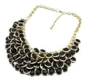 black Chunky Multi Layers Resin Gem Round Beads Statement Bib Collar Necklace