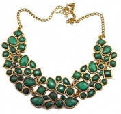 Women Fashion New Green Resin Rhinestone Drop Bubble Choker Necklace
