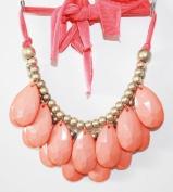 coral- Size 48mm Teardrop Double Strand Necklace, Stormy Seas Briolette Bib Statement Necklace