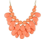 orange 3 row teardrop Statement Jewellery, Chunky Necklace, Bubble Necklace