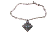 Stunning Antique Look Triple Silver Metal Necklace with Diamond Shape Pewter Charm with Rhinestones